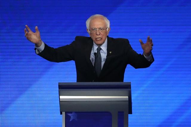 Sen. Bernie Sanders at Friday's debate in New Hampshire - ASSOCIATED PRESS