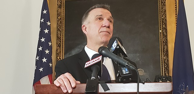 Gov. Phil Scott at a Statehouse press conference last week. - KEVIN MCCALLUM