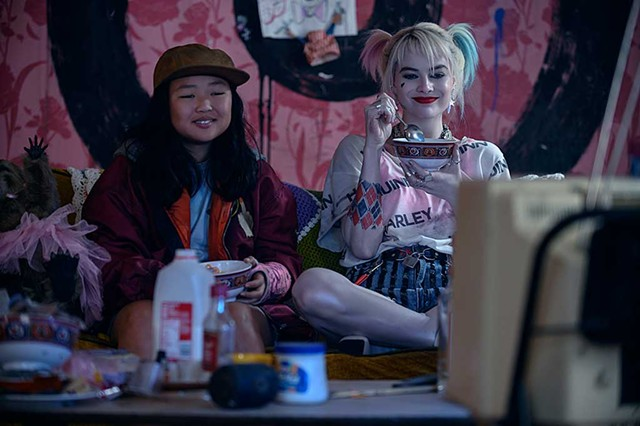 GIRLS JUST WANNA HAVE FUN Basco and Robbie play unlikely slumber party buddies in a goofy, low-stakes superhero flick.