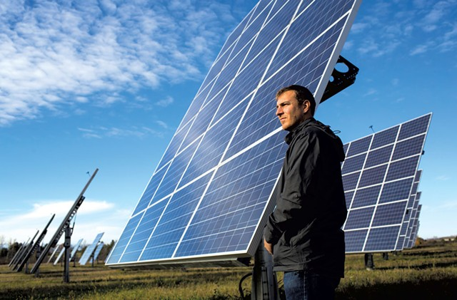 Developer Joe Larkin at a South Burlington solar farm - FILE: ROBERT NICKELSBERG
