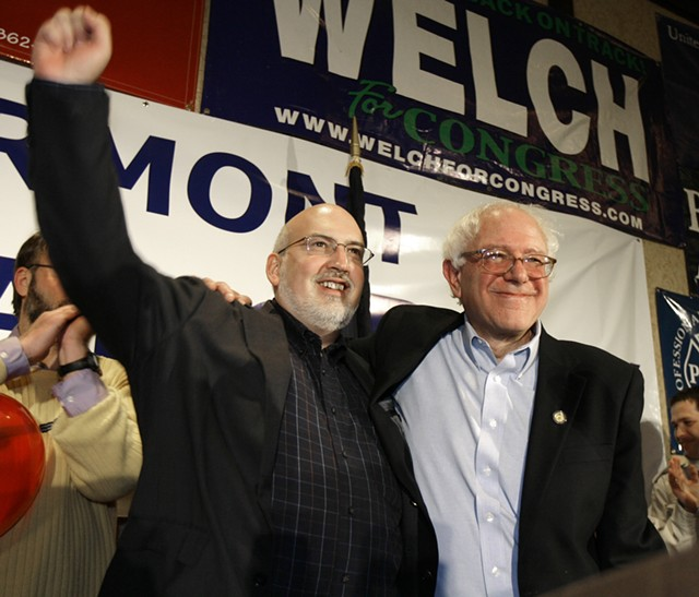 Bernie Sanders (right) celebrating his 2006 electoral victory with his campaign manager, Jeff Weaver - ASSOCIATED PRESS