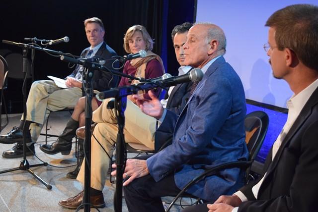 Five candidates for governor meet Monday night in Burlington. From left: Phil Scott, Sue Minter, Matt Dunne, Bruce Lisman and Shap Smith. - TERRI HALLENBECK