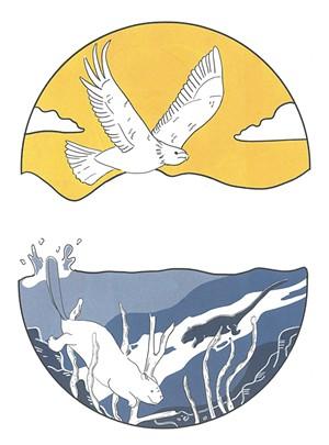 MIGWEN -  Feather -  MGESO - Eagle -  AWAN - Air -  NEBI - Water -  NEBESIS - Pond -  TMAKWA - Beaver -  MOSKWAS - Muskrat - ILLUSTRATIONS BY KELSI BRETT