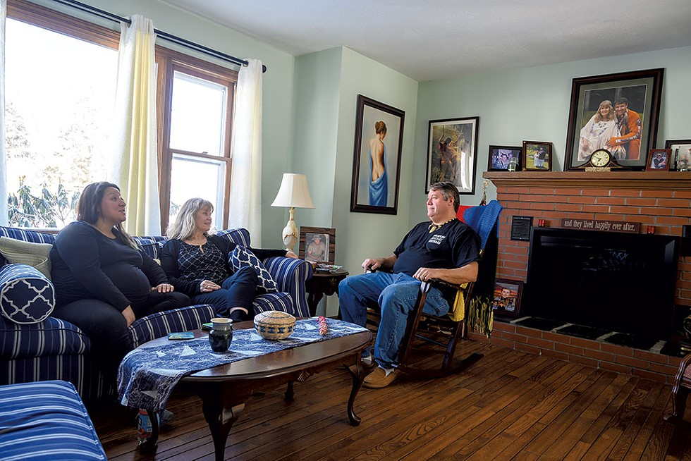 Nulhegan Chief Don Stevens at home with his wife, Diane, and daughter Jocelyn Meilleur - CALEB KENNA