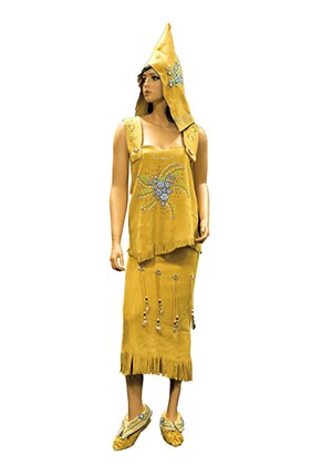 Traditional beaded buckskin dress, hood and moccasins from the Abenaki exhibition at the Burlington International Airport - COURTESY OF DIANE STEVENS