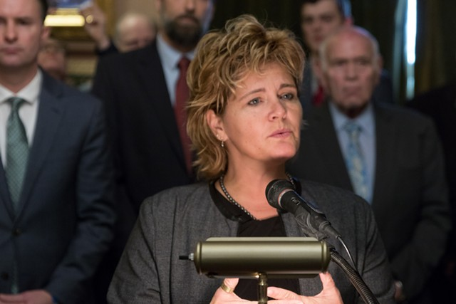 Rep. Sarah Copeland Hanzas (D-Bradford) urging support for S.54 during a press conference last month - FILE: COLIN FLANDERS