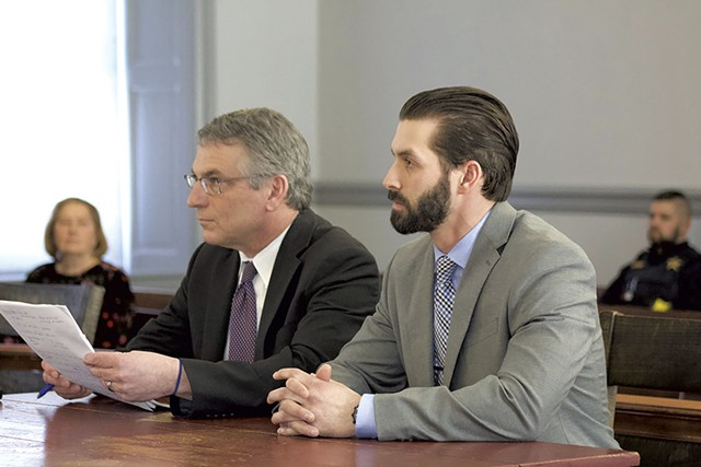 Winooski detective Christopher Matott (right) and attorney Robert Katims - DEREL BROUWER