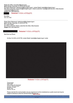 Burlington redacted emails sent by private citizens weighing in on city business. Seven Days obscured Miller's phone number