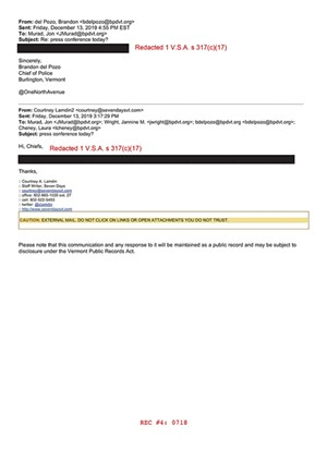 The city redacted an email sent by a Seven Days reporter. - XXXXX