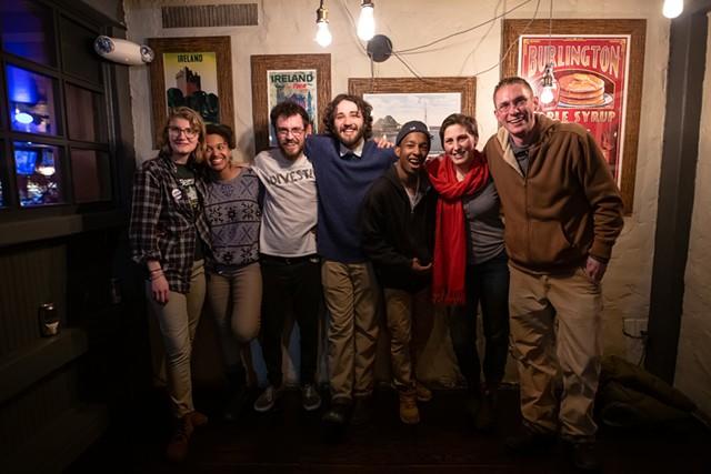Progs celebrating in Burlington. From left: Jane Stromberg, Zoraya Hightower, Jack Hanson, Nathan Lantieri, Aden Haji, Perri Freeman, Max Tracy - LUKE AWTRY