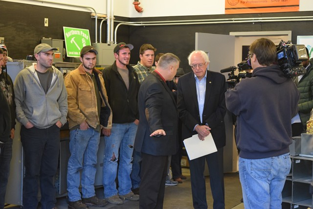 Sen. Bernie Sanders (I-Vt.) meets a group of union apprentices Saturday at the IBEW Local 490 in Concord, N.H. - TERRI HALLENBECK