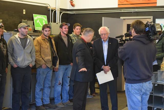 Sen. Bernie Sanders (I-Vt.) meets a group of union apprentices Saturday at the IBEW Local 490 in Concord, N.H. - TERRI HALLENBECK