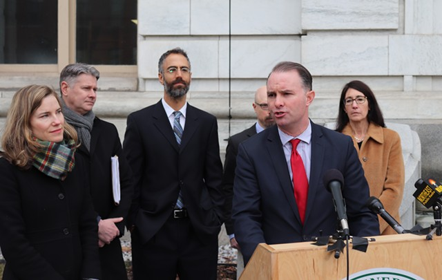 Attorney General T.J. Donovan and staff at Tuesday's press conference - DEREK BROUWER