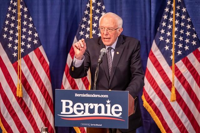 Sen. Bernie Sanders speaking Wednesday at Burlington's Hotel Vermont - LUKE AWTRY
