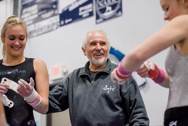 Hruska and gymnasts Delaney Brown (left) and Tali Giubardo - GLENN RUSSELL
