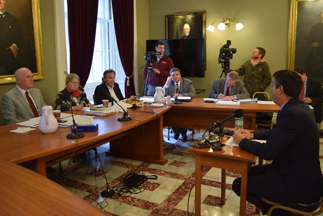 The Senate Government Operations Committee listens to Bill Lofy, representing the Vermont Cannabis Collaborative, at a hearing Tuesday in Montpelier. - TERRI HALLENBECK