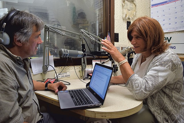 Christine talking to WDEV radio host David Goodman - TERRI HALLENBECK