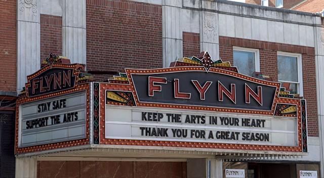 The Flynn theater marquee in Burlington - MARGARET GRAYSON