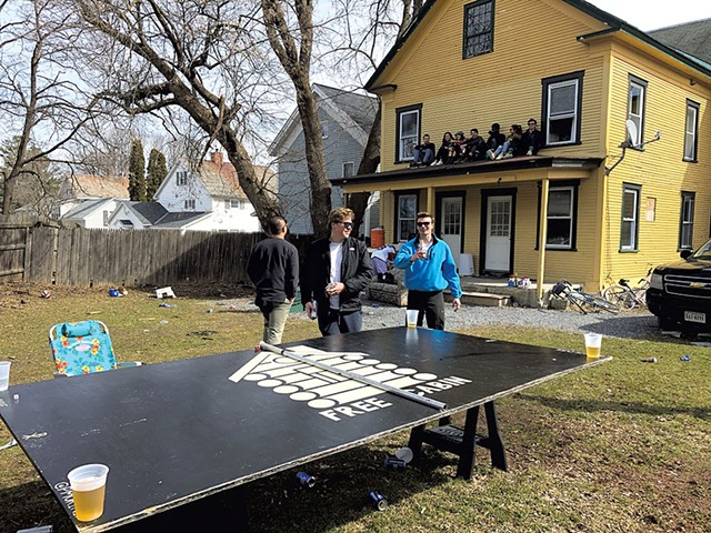 Middlebury students partying in their yard - MOLLY WALSH