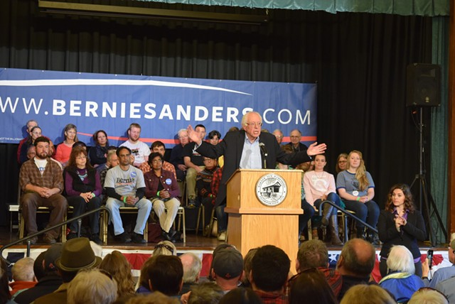 Bernie Sanders campaigning in New Hampshire last weekend - TERRI HALLENBECK