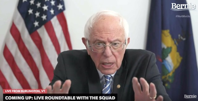 Sen. Bernie Sanders addressing supporters Sunday night from his campaign office in Burlington - SCREENSHOT