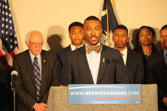 Student activist Hamilton Grant speaks at a Sanders press conference Saturday in Columbia - PAUL HEINTZ