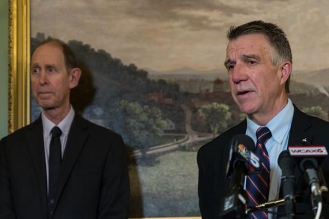 Health Commissioner Mark Levine (left) and Gov. Phil Scott - FILE: COLIN FLANDERS