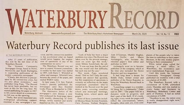 The final edition of the Waterbury Record - SCREENSHOT