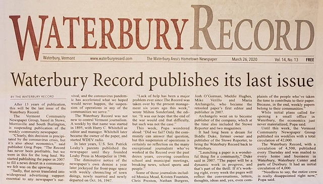 The final edition of the Waterbury Record - SCREENSHOT