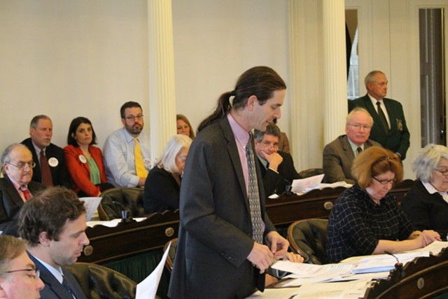 Sen. David Zuckerman speaks in the Vermont Senate last spring - FILE: PAUL HEINTZ