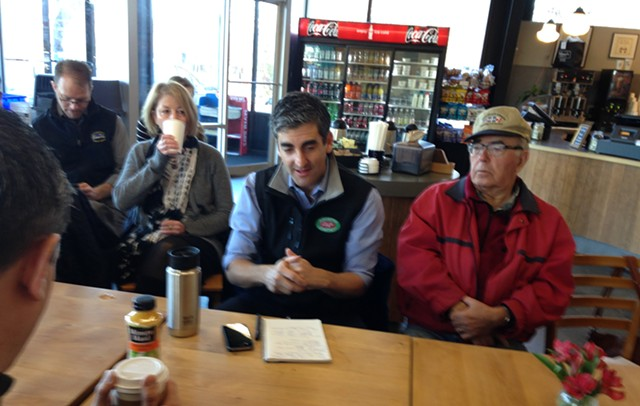 The mayor enjoys coffee and bagels with residents  in the South End - MOLLY WALSH