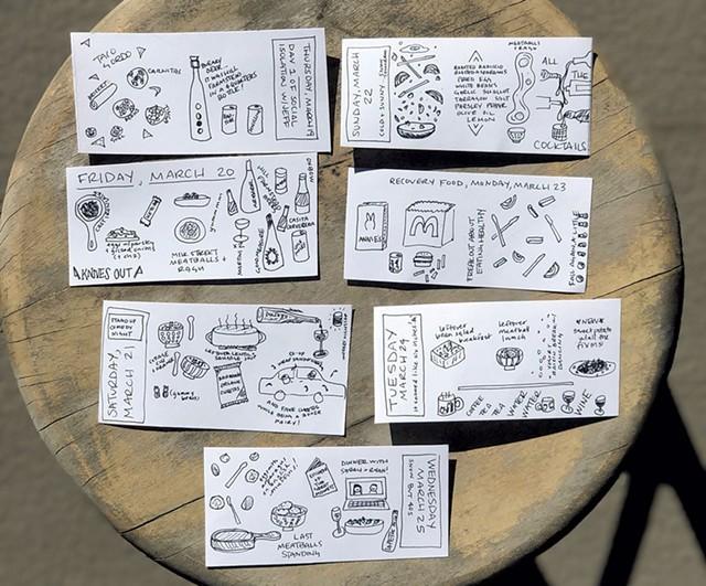 "Sas Stewart's daily ""tiny drawings"" of quarantine meals - COURTESY PHOTO"