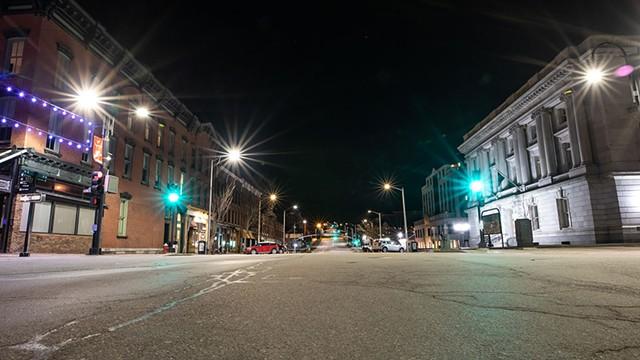 Deserted Main Street in Burlington - LUKE AWTRY