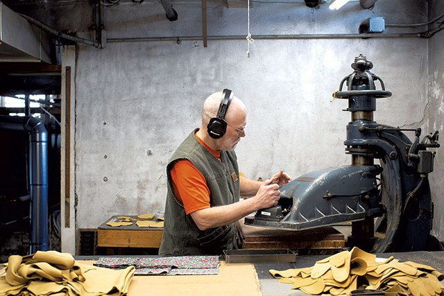 Mark McKerley cuts material at Vermont Glove's facility in Randolph - COURTESY OF VERMONT GLOVE/ADAM PLOTSKY