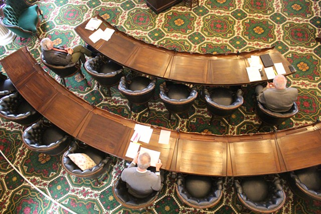 Lawmakers keep their distance last month in the Vermont Senate chamber - PAUL HEINTZ