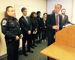 Chittenden County State's Attorney T.J. Donovan speaking at a press conference Thursday - MARK DAVIS