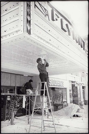 Repairing the marquee in the 1980s - COURTESY OF THE FLYNN CENTER