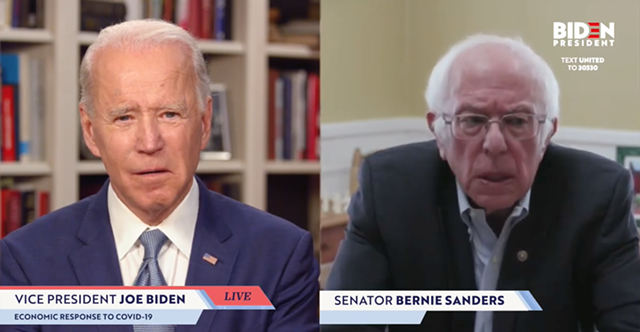 Joe Biden, left, and Bernie Sanders - SCREENSHOT