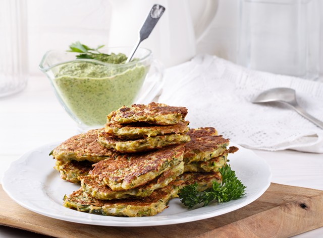 Vegetable pancakes with green tahini miso sauce - COURTESY OF COURTNEY CONTOS