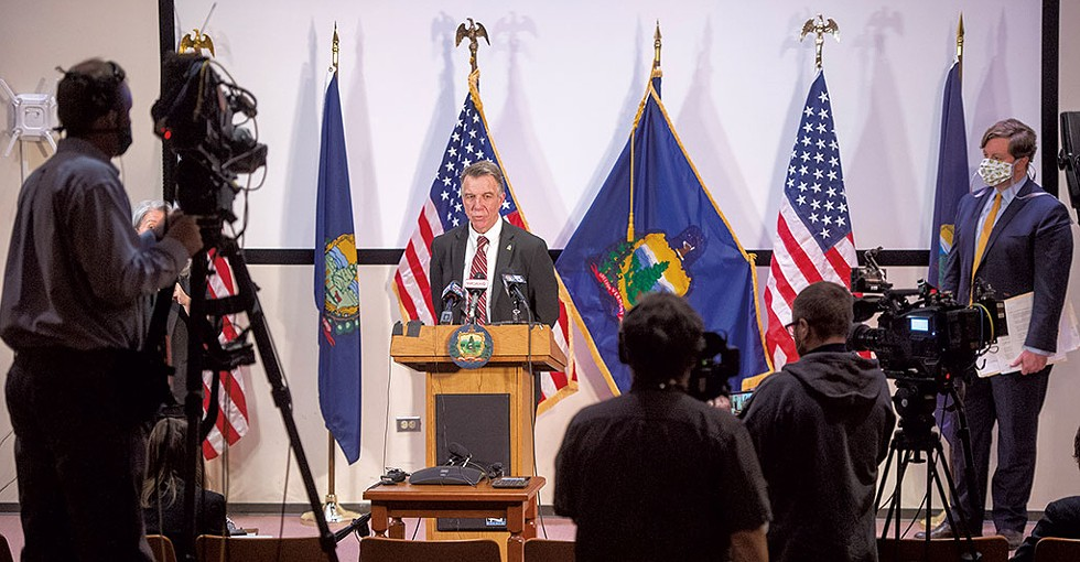 Gov. Phil Scott addressing reporters last Friday in Montpelier - JEB WALLACE-BRODEUR