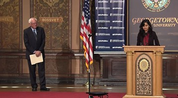 A Georgetown University student introduces Sen. Bernie Sanders - GEORGETOWN UNIVERSITY