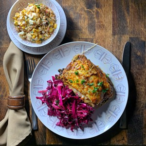 """Vegetarian Tex-Mex dinner party of elote salad, quick curtido and """"Casserolé"""" (Mexican lasagna) available through Kingdom Direct - THOMAS MCCURDY; COURTESY PHOTO"""