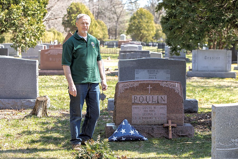 Peter Lavallee at Bob Poulin's grave - LUKE AWTRY