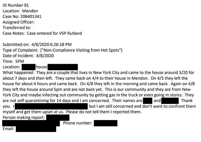 A complaint about out-of-state visitors - SCREENSHOT