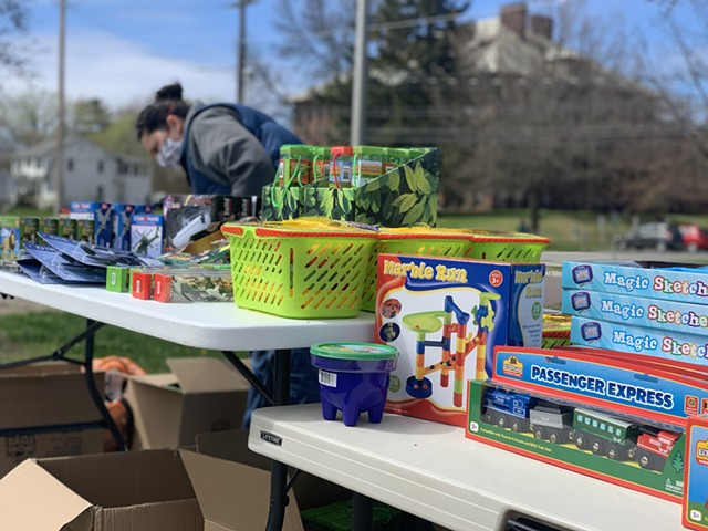 The toy selection outside Champlain Elementary School on Tuesday - ALISON NOVAK