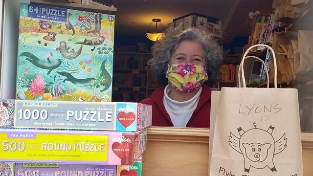 Elizabeth Bluemle at the Flying Pig Bookstore window - COURTESY OF ELIZABETH BLUEMLE