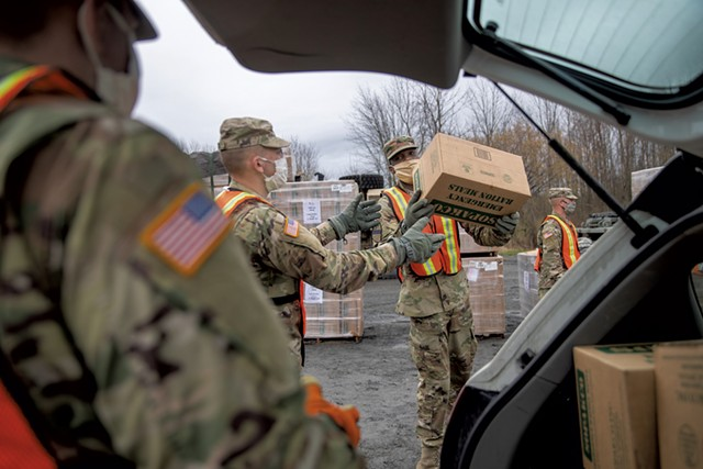 Vermont National Guard members distributing MREs in South Hero - PHOTOS: JAMES BUCK