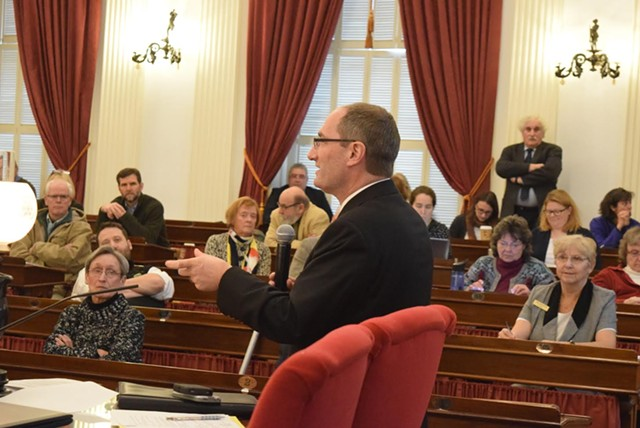 Agency of Administration Secretary Justin Johnson discussed budget issues Tuesday with legislators at  the Statehouse in Montpelier. - TERRI HALLENBECK/SEVENDAYS