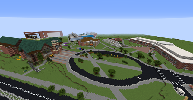 The in-progress UVM Minecraft campus from above - COURTESY OF UVM CAMPUSCRAFT