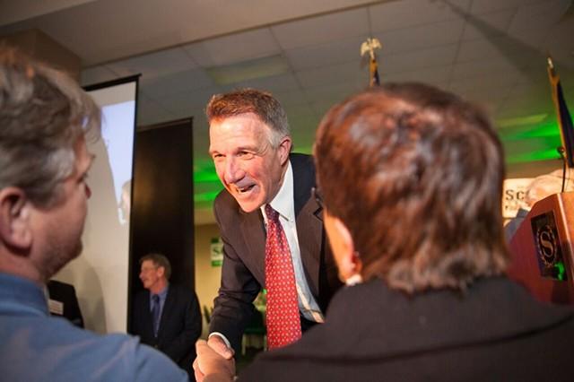 Scott greeting a supporter - JAMES BUCK